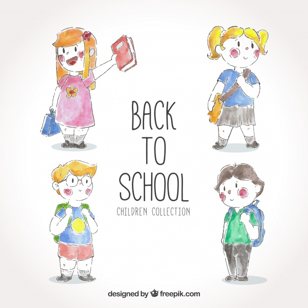 626x626 Pack Back To School With Watercolor Children Vector Free Download