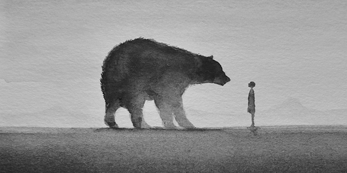 1200x600 Poetic Black And White Watercolors Of Children With Wild Animals