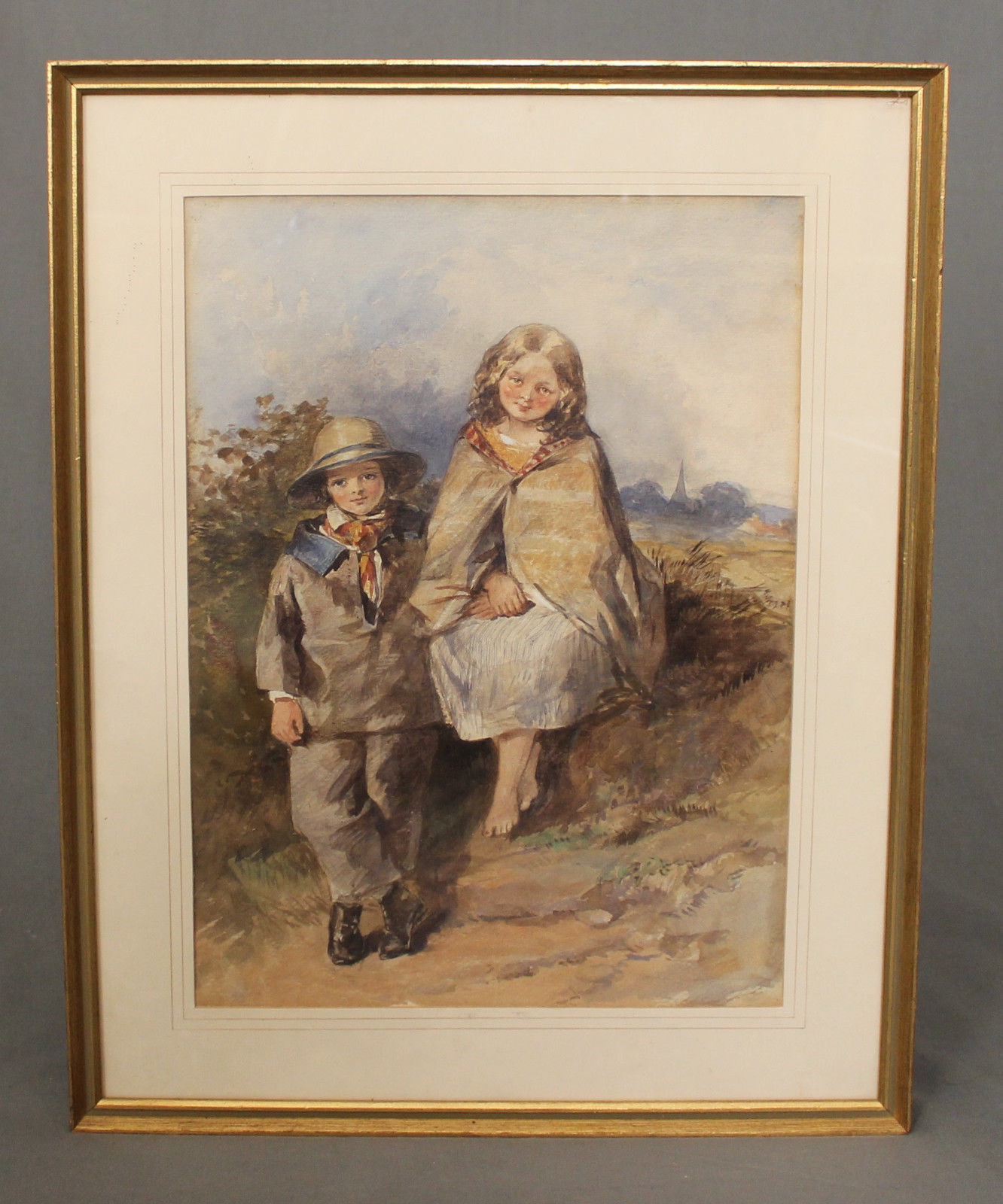 1332x1600 Victorian Figural Watercolour Painting Portrait Children C1855 (C