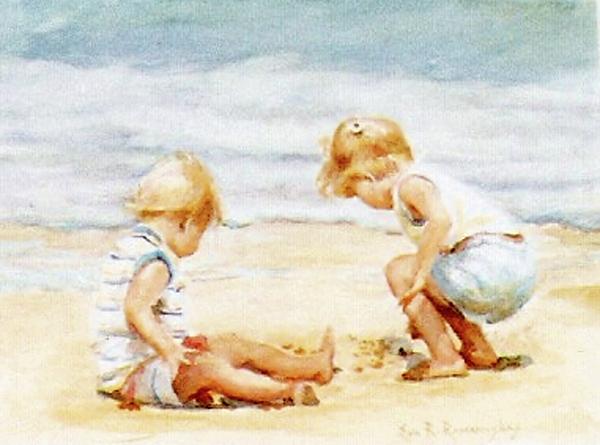 600x445 Children On The Beach Painting By Eva Ramanuskas