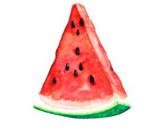 340x270 Watermelon Watercolor Painting Original, Fruit 5 X 7 Original Red