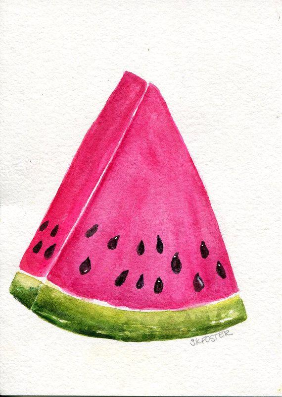 570x800 Watermelon Watercolor Painting Original, Original Watercolor