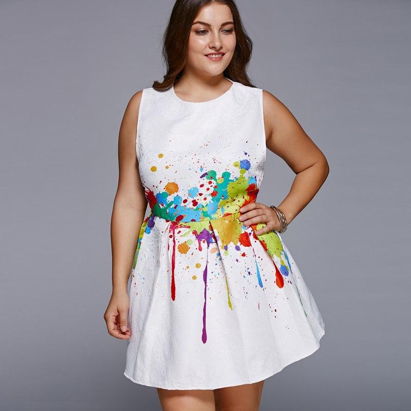 White Watercolor Dress