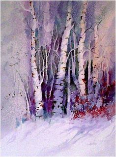 Winter Birch Trees Watercolor