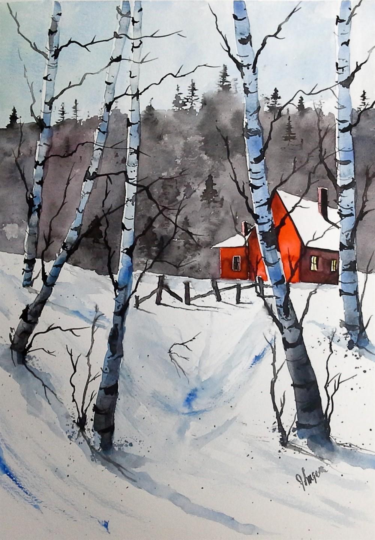 1000x1440 Original Painting Watercolor Painting Original Watercolor Birch