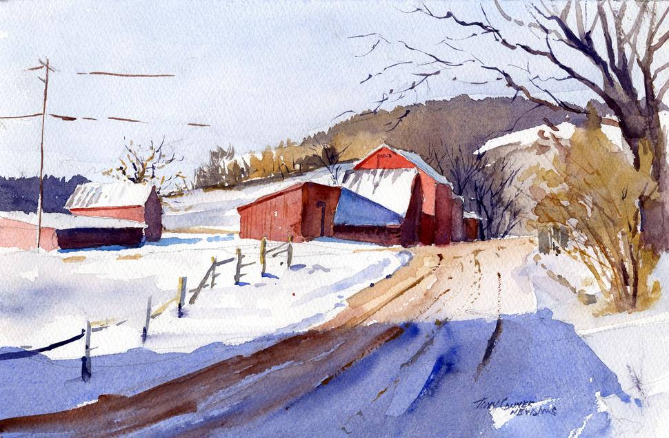 970x636 Cross Hill Road Winter Watercolor Plein Air Landscape