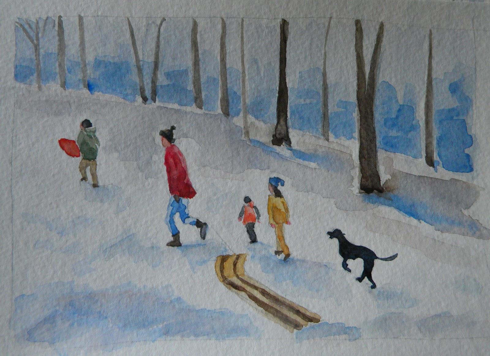 1600x1164 Painting Daily Heidi Malott Original Art Kids Sledding Winter