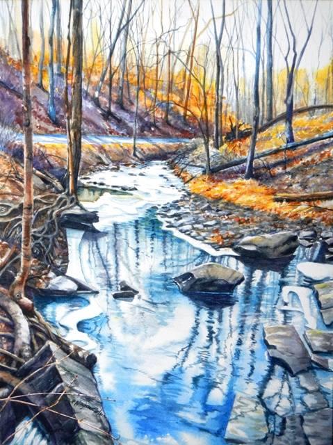479x640 Realism In Watercolor Early Winter Landscape, Bucks County Pa
