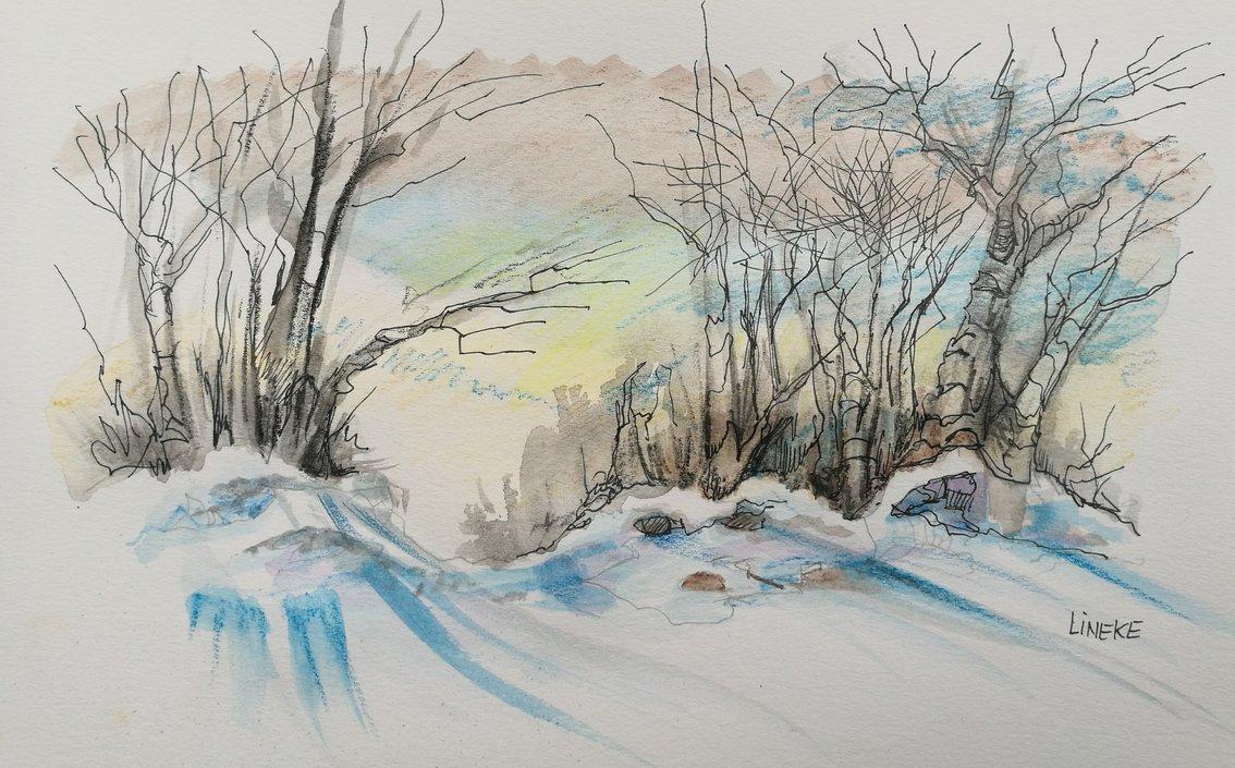 1134x705 Winter Landscape Watercolor Paintings