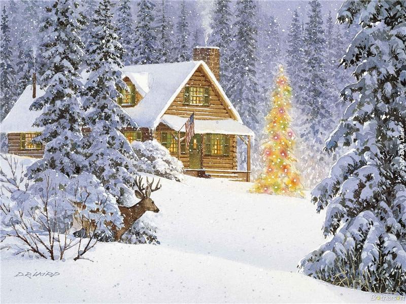 800x600 4 Lights Free Shipping Christmas Gift Wall Art Canvas Print