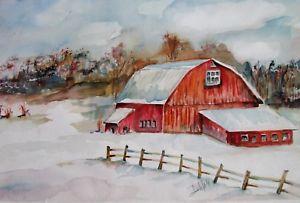 300x203 Winter Landscape Decor Farm Barn Woodland 12x18 Watercolor