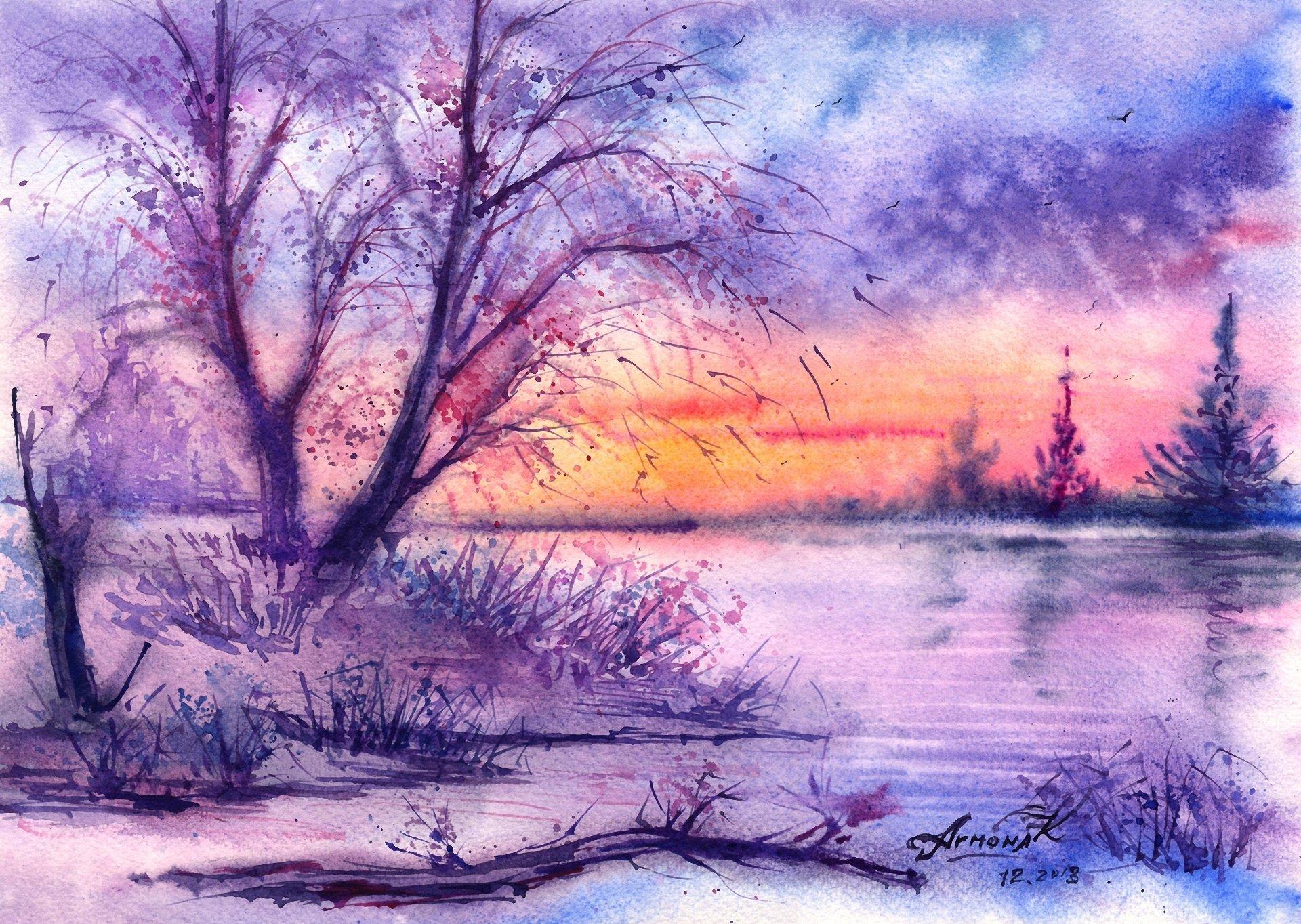 1920x1364 Painted Landscape Watercolor Tree River Winter Birds Hd Wallpaper