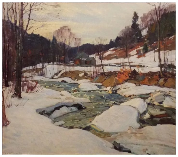 740x652 Aldro Thompson Hibbard Oil Painting Winter Landscape New