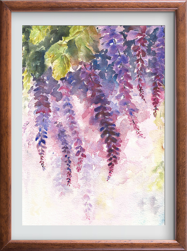 654x877 The Blooming Orchids Wisteria Watercolor Paintings