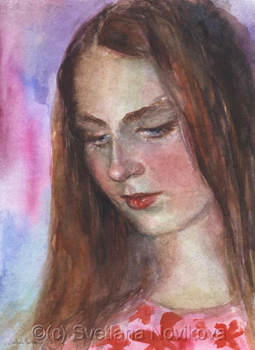 876x1200 Painting Young Woman Watercolor Original Painting (Original