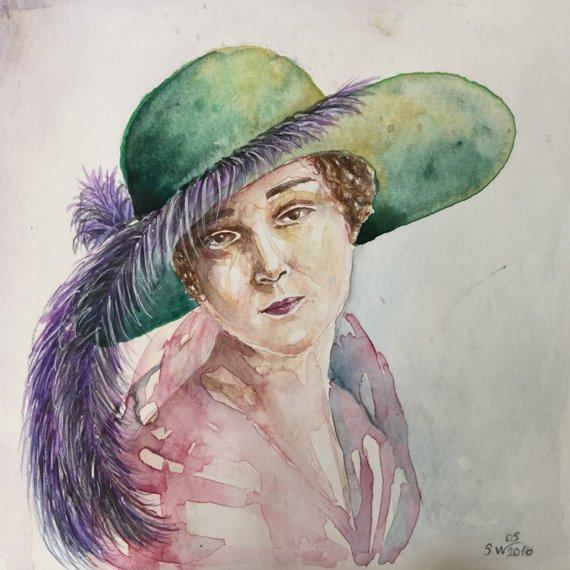 570x570 Watercolor Woman Portrait Small Portrait Watercolor Art Etsy