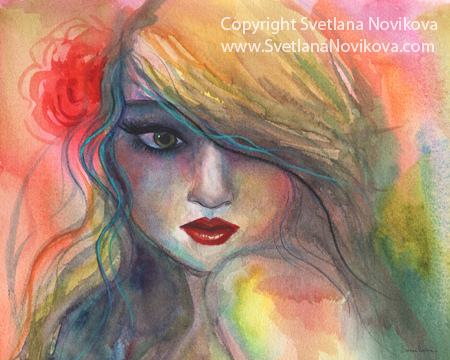 450x360 Young Woman Watercolor Painting Young Woman Watercolor