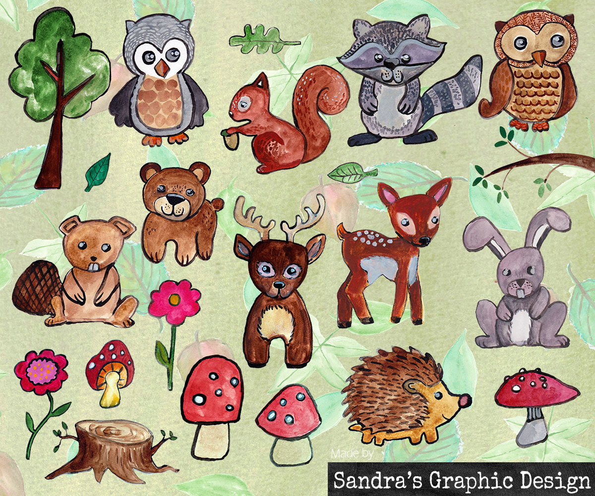 1200x1000 Woodland Animals Clipart, Hand Painted Watercolor Images Of
