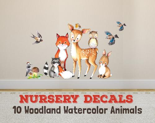 500x398 Wall Decal Nursery Fox Amp Friends 10 Woodland Watercolor Animals