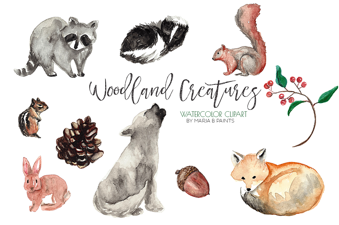 1160x772 Watercolor Clip Art Forest Animals