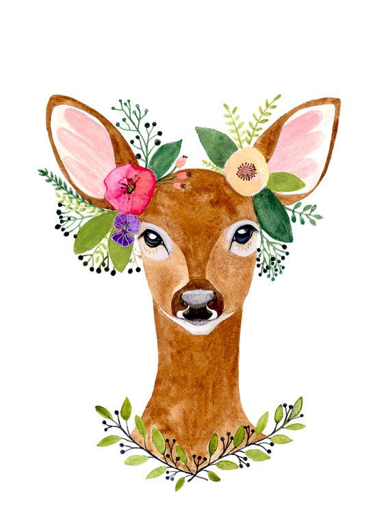 570x740 Watercolor Deer, Deer Print, Woodland Decor, Wall Art,woodland
