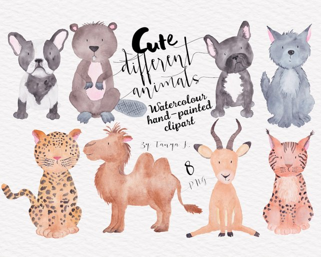 642x514 Animals Watercolor Clip Art Dogs Clipart Commercial Use Etsy
