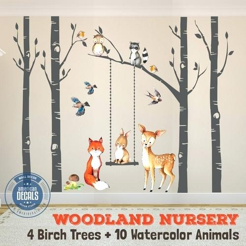500x500 Woodland Animal Wall Decals Wall Decal Nursery Fox Friends 4 Trees
