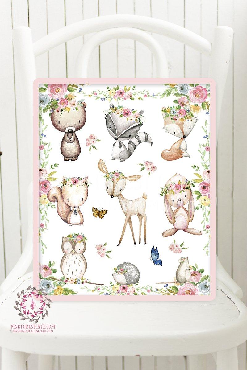 800x1200 Woodland Animals Deer Bunny Fox Boho Bohemian Printable Wall Art