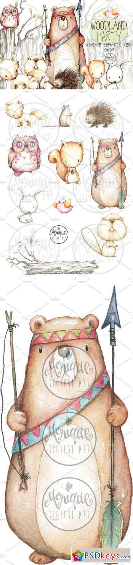 450x1900 Woodland Animals Watercolor 1537146 Free Download Photoshop
