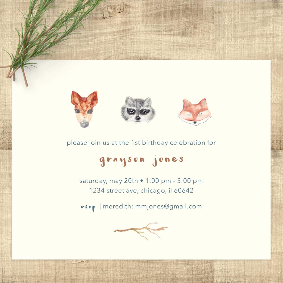 1200x1200 Woodland Animals Watercolor Birthday Invitations