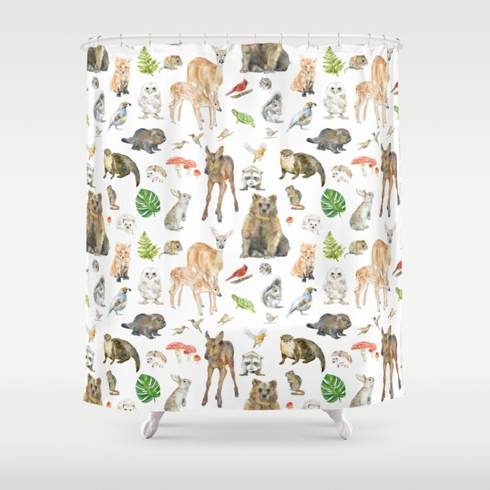 700x700 Woodland Animals Watercolor Shower Curtain By Susanwindsor Society6