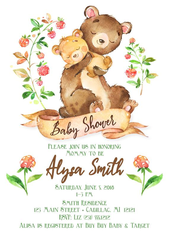 570x798 Woodland Bear Baby Shower Invitation