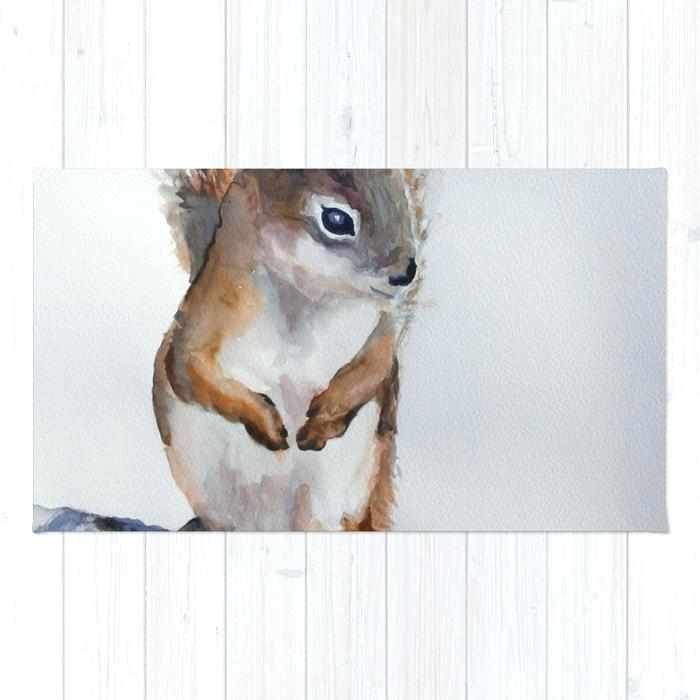 700x700 Woodland Nursery Rug Watercolor Baby Squirrel Woodland Animals