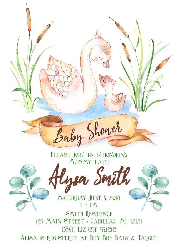 570x798 Woodland Swan Baby Shower Invitation