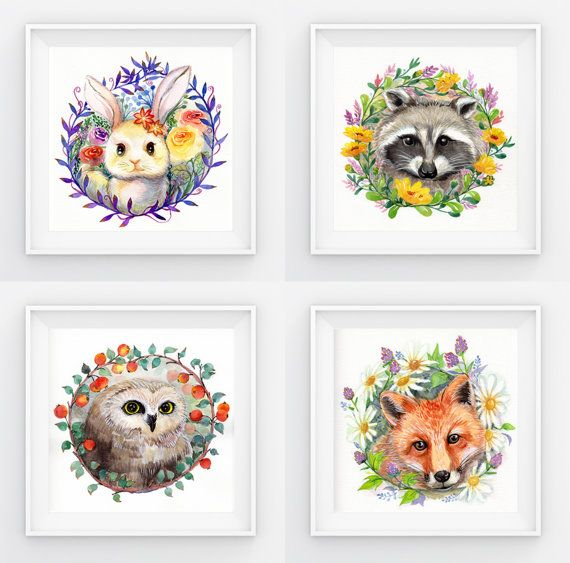 570x563 Woodland Animals And Flowers Watercolor By Joyeverydaycreations