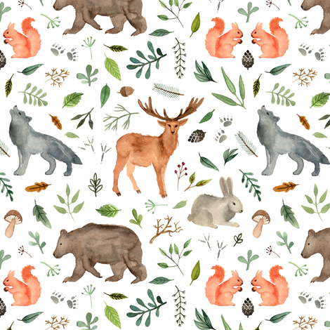 470x470 Watercolor Woodland Animals Wallpaper