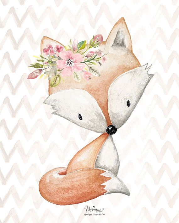 570x712 Nursery Woodland Animals Print Watercolor, Set Of 4, Fox, Rabbit