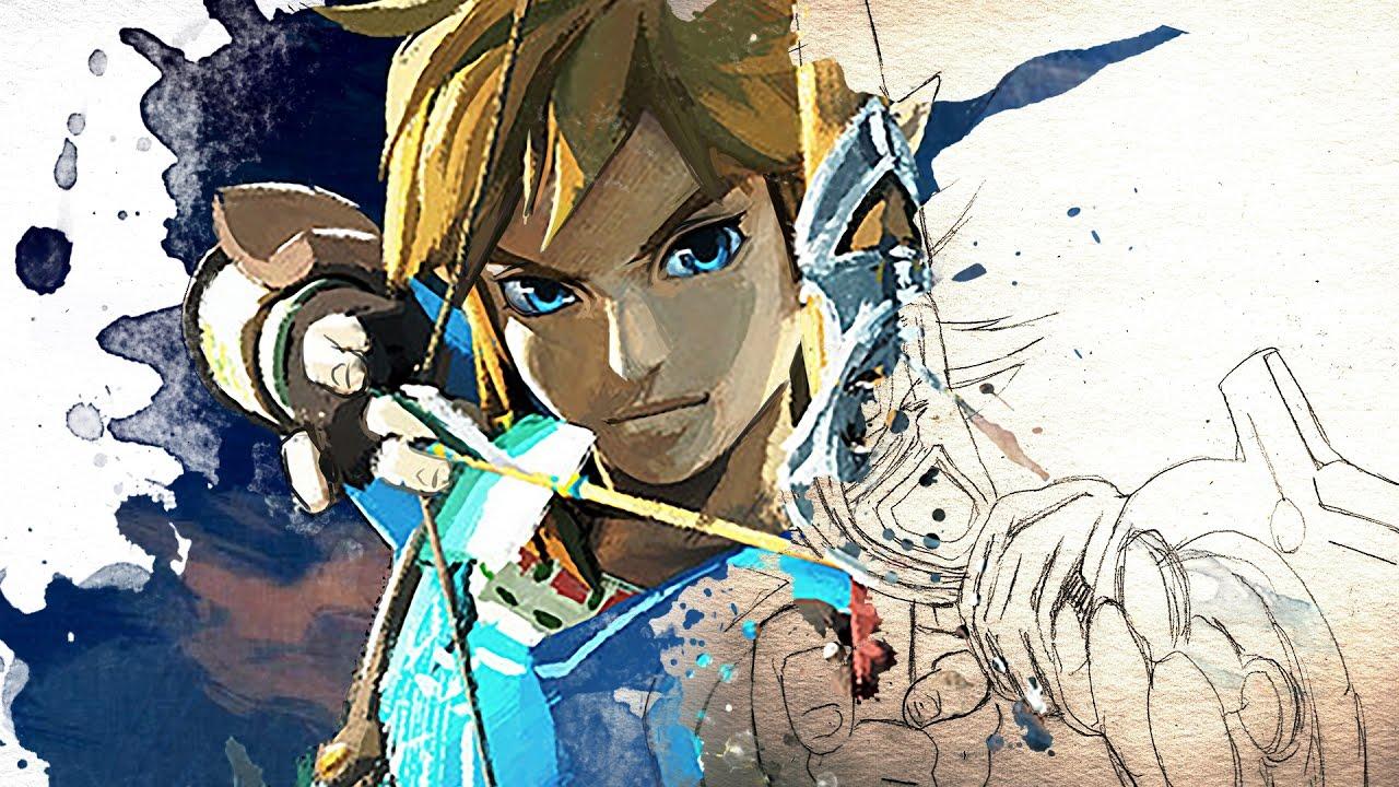 1280x720 Legend Of Zelda Breath Of The Watercolor Painting