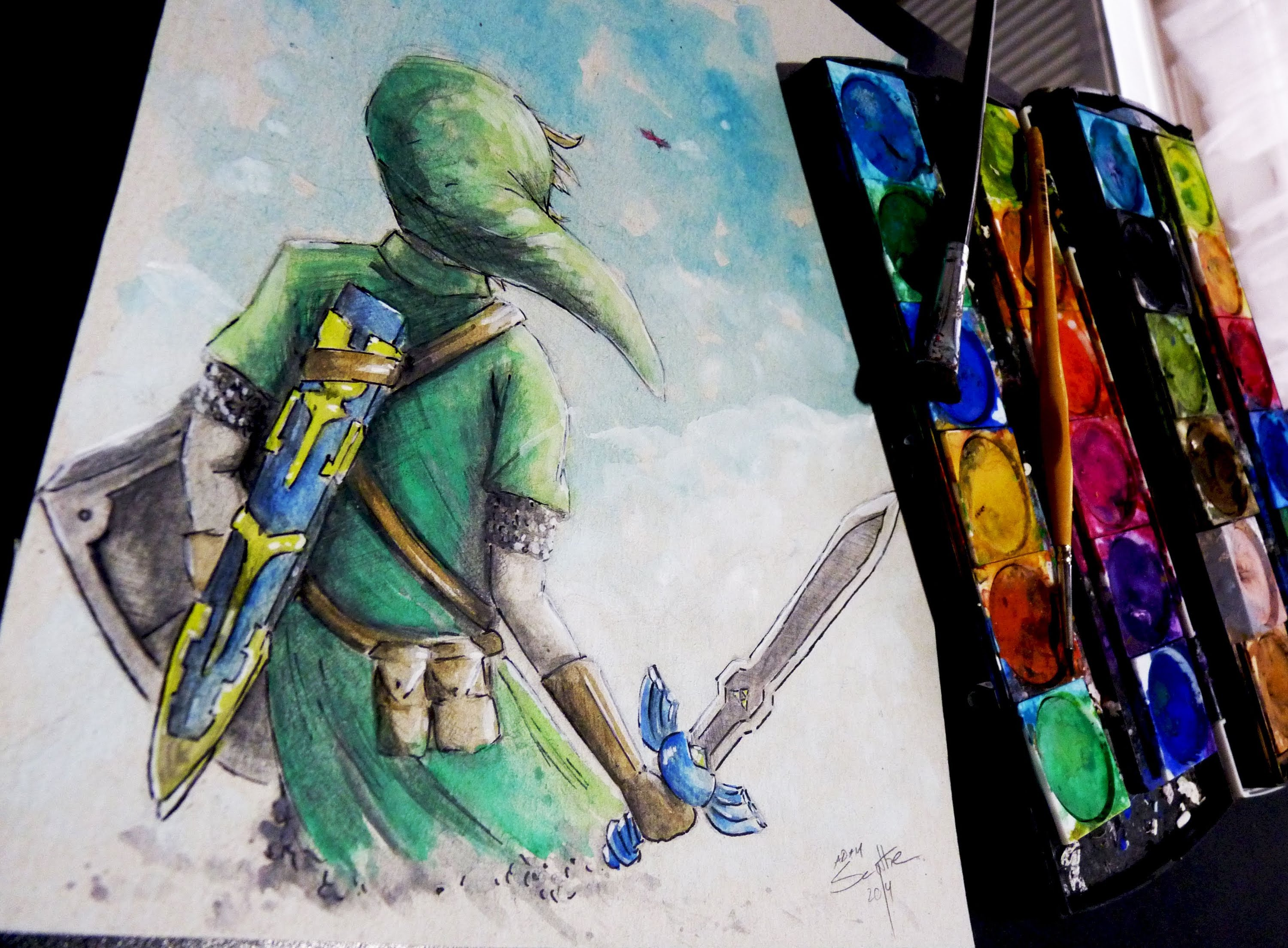 3000x2208 Legend Of Zelda Link Watercolor Time Lapse Painting