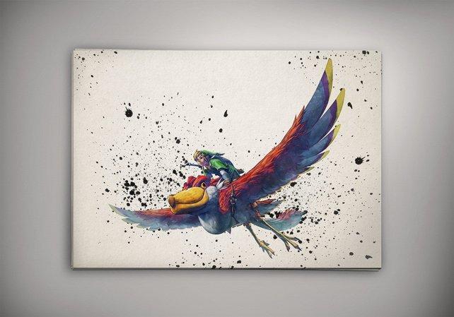 642x449 Link Legend Of Zelda Watercolor The Legend Of Zelda Room Etsy