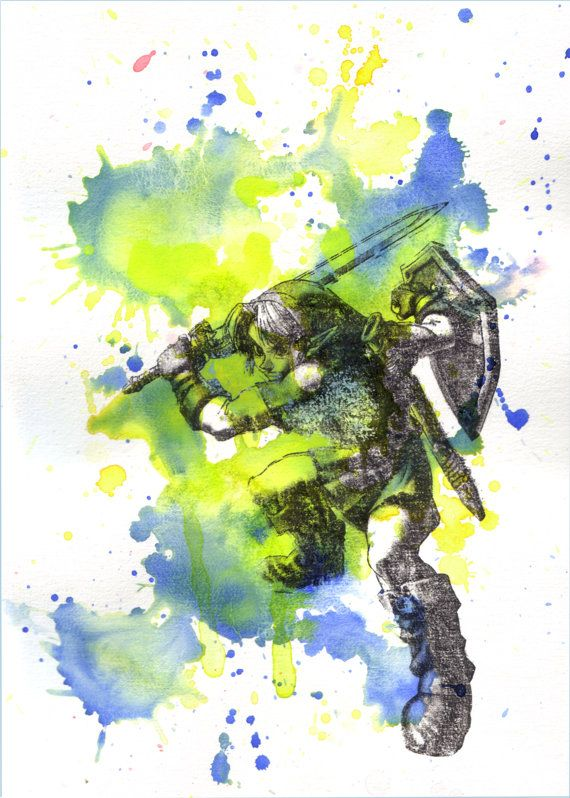 570x798 Link From Zelda Watercolor Painting