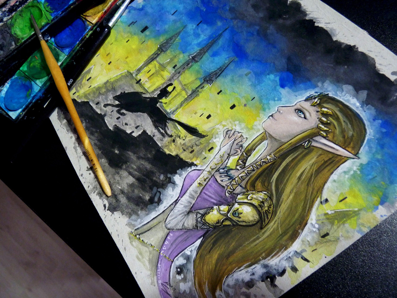 3000x2250 Princess Zelda Watercolor Time Lapse Painting Twilight Princess