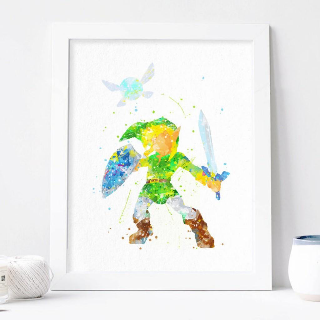 1024x1024 Zelda Print, Link Legend Of Zelda Watercolor Art, Nursery Link