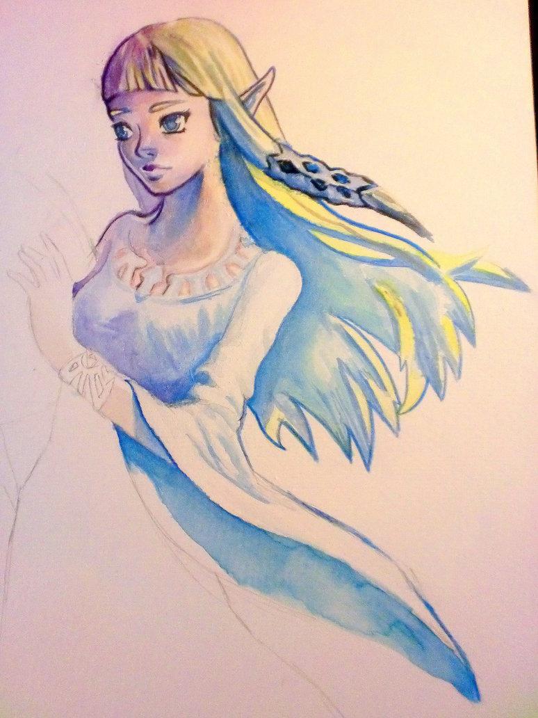 774x1032 Zelda Watercolor (Unfinished)