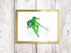300x225 Legend Zelda Watercolor A4 Glossy Poster Print Nursery Picture